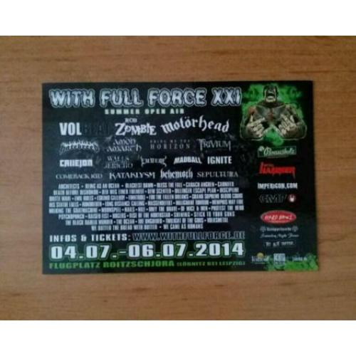 With Full Force XXI 2014 Sticker Volbeat Motörhead Trivium